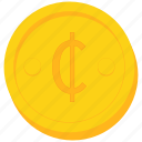 cedi, coin, currency, ghana, gold icon
