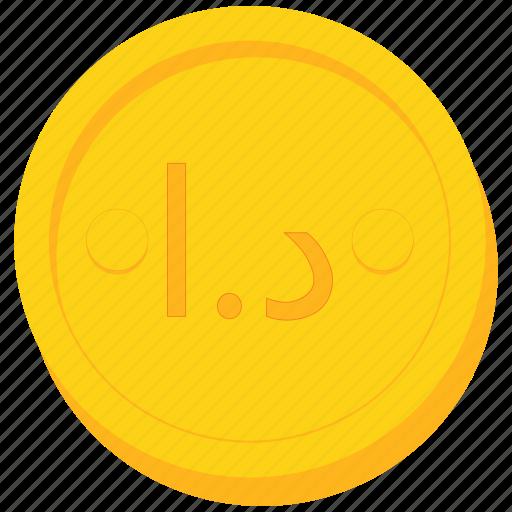 coin, currency, dinar, gold, jordan, jordanian icon