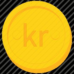coin, currency, danish, gold, krona, krone, swedish icon