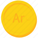 ariary, coin, currency, gold, malagasy icon
