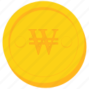coin, currency, gold, korea, north, south, won icon