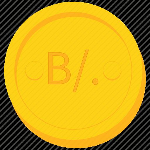 balboa, coin, currency, gold, panama, panamian icon