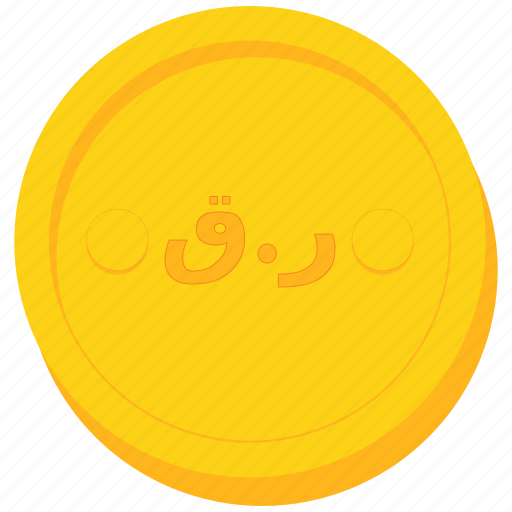coin, currency, gold, qatar, qatari, riyal icon