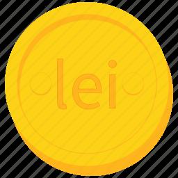 coin, currency, gold, leu, romania, romanian icon