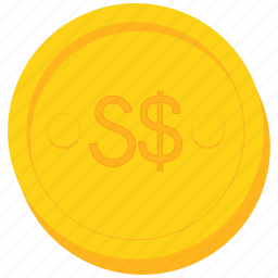 coin, currency, dollar, gold, singapore, singaporean icon