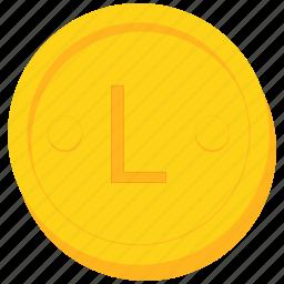 albania, coin, currency, gold, honduran, lek, lempira, lesotho, leu, lilangeni, loti, moldovan, swazi icon