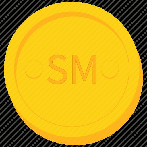 coin, currency, gold, samoni, tajikistan, tajikistani icon
