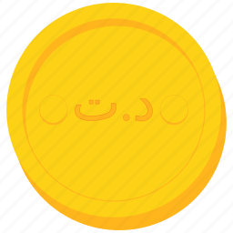 coin, currency, dinar, gold, tunisia, tunisian icon