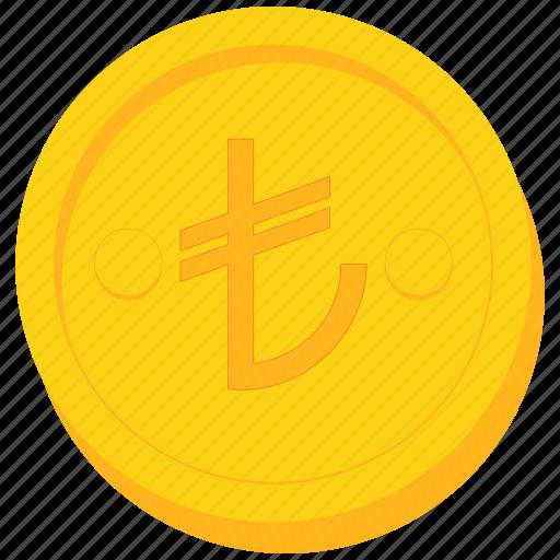 coin, currency, gold, lira, turkey, turkish icon
