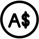 australia, coin, currency, dollar, money, sign icon
