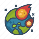 catastrophe, meteorites, meteor, earth, armageddon, apocalypse, disaster icon