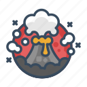 danger, disaster, eruption, explosion, lava, volcano, volcano eruptions icon