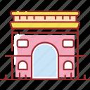 arc, building, de, famous, triomphe icon