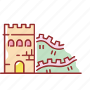building, famous, great, wall icon