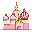 building, famous, red, russian, square icon