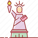 building, famous, liberty, of, statue icon