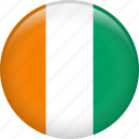 cote d'ivoire, country, flag, ivory coast, nation icon