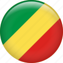 congo, congo republic, country, flag, national, the republic of the congo icon