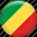 congo, congo republic, country, flag, national, the republic of the congo icon