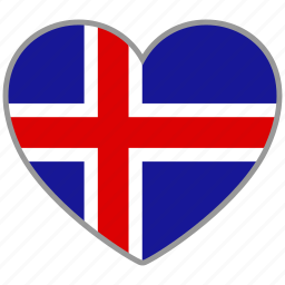 country, flag, flag heart, iceland, love, nation icon