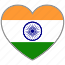 country, flag, flag heart, india, love, nation icon