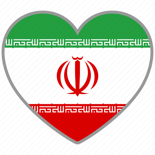 country, flag, flag heart, iran, love, nation icon
