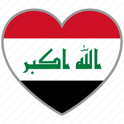 country, flag, flag heart, iraq, love, nation icon