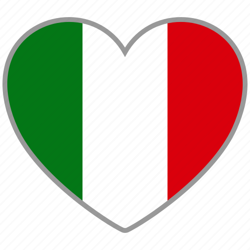 country, flag, flag heart, italy, love, nation icon