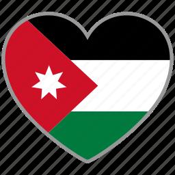 country, flag, flag heart, jordan, love, nation icon