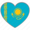 country, flag, flag heart, kazakhstan, love, nation icon