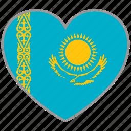 country, flag, flag heart, kazakhstan, love, nation icon