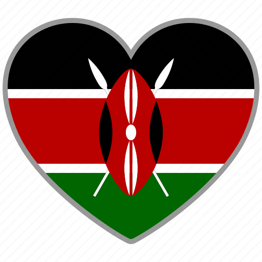 country, flag, flag heart, kenya, love, nation icon
