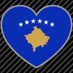 country, flag, flag heart, kosovo, love, nation icon