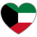 country, flag, flag heart, kuwait, love, nation icon