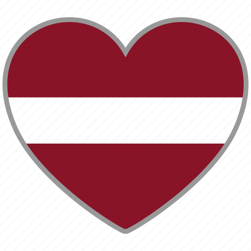 country, flag, flag heart, latvia, love, nation icon