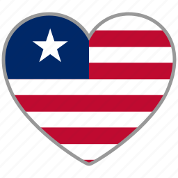 country, flag, flag heart, liberia, love, nation icon