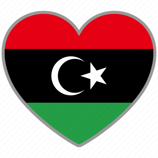 country, flag, flag heart, libya, love, nation icon