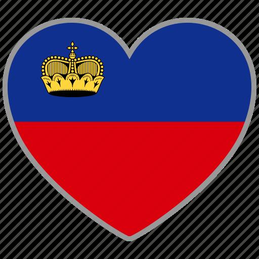 country, flag, flag heart, liechtenstein, love, nation icon