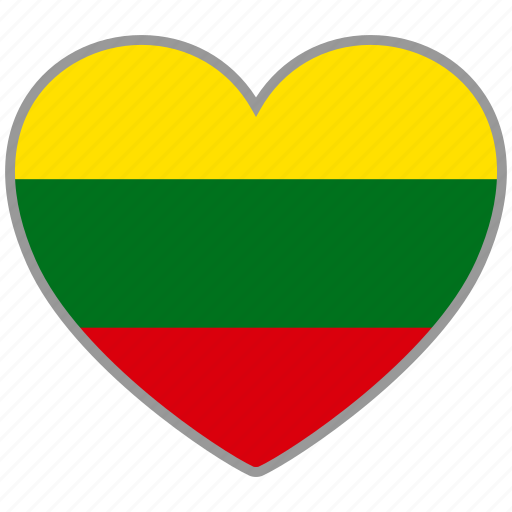 country, flag, flag heart, lithuania, love, nation icon