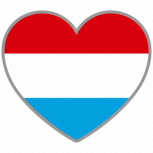 country, flag, flag heart, love, luxembourg, nation icon