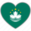 country, flag, flag heart, love, macau, nation icon