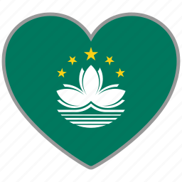 country, flag, flag heart, love, macau, nation icon