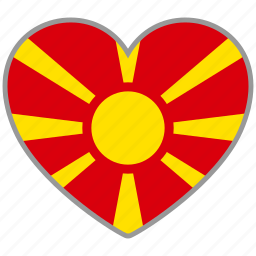 country, flag, flag heart, love, macedonia, nation icon