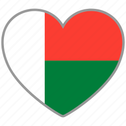 country, flag, flag heart, love, madagascar, nation icon