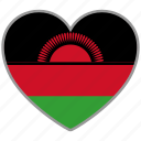 country, flag, flag heart, love, malawi, nation icon
