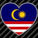 flag heart, malaysia, country, flag, nation, love