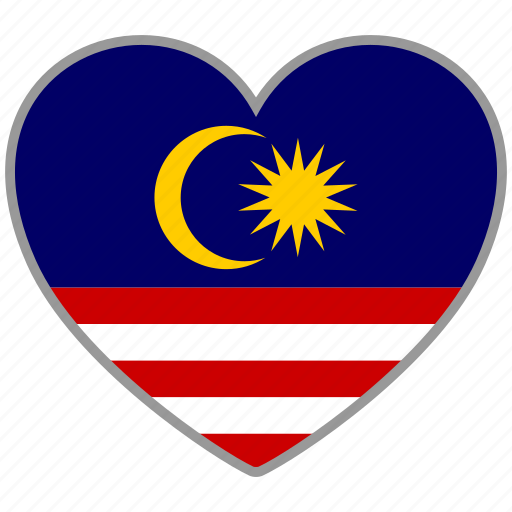 country, flag, flag heart, love, malaysia, nation icon