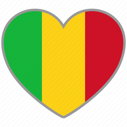 country, flag, flag heart, love, mali, nation icon