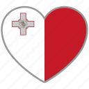 country, flag, flag heart, love, malta, nation icon