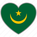 country, flag, flag heart, love, mauritania, nation icon